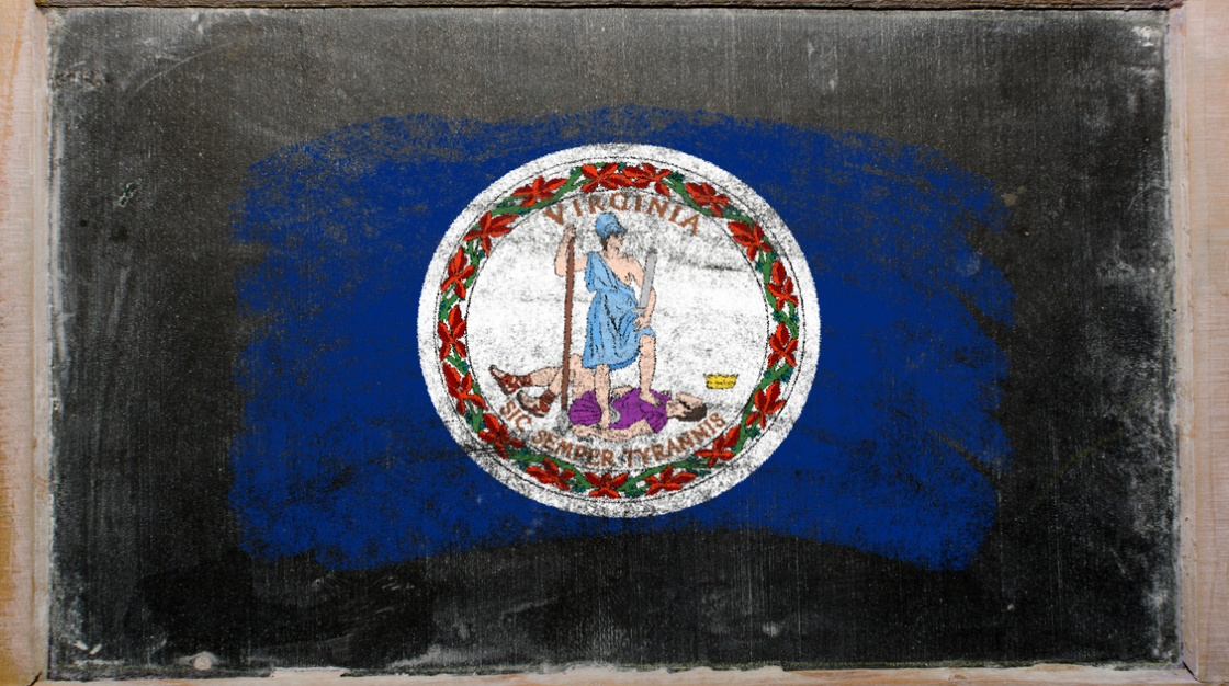 chalk drawing VA state flag