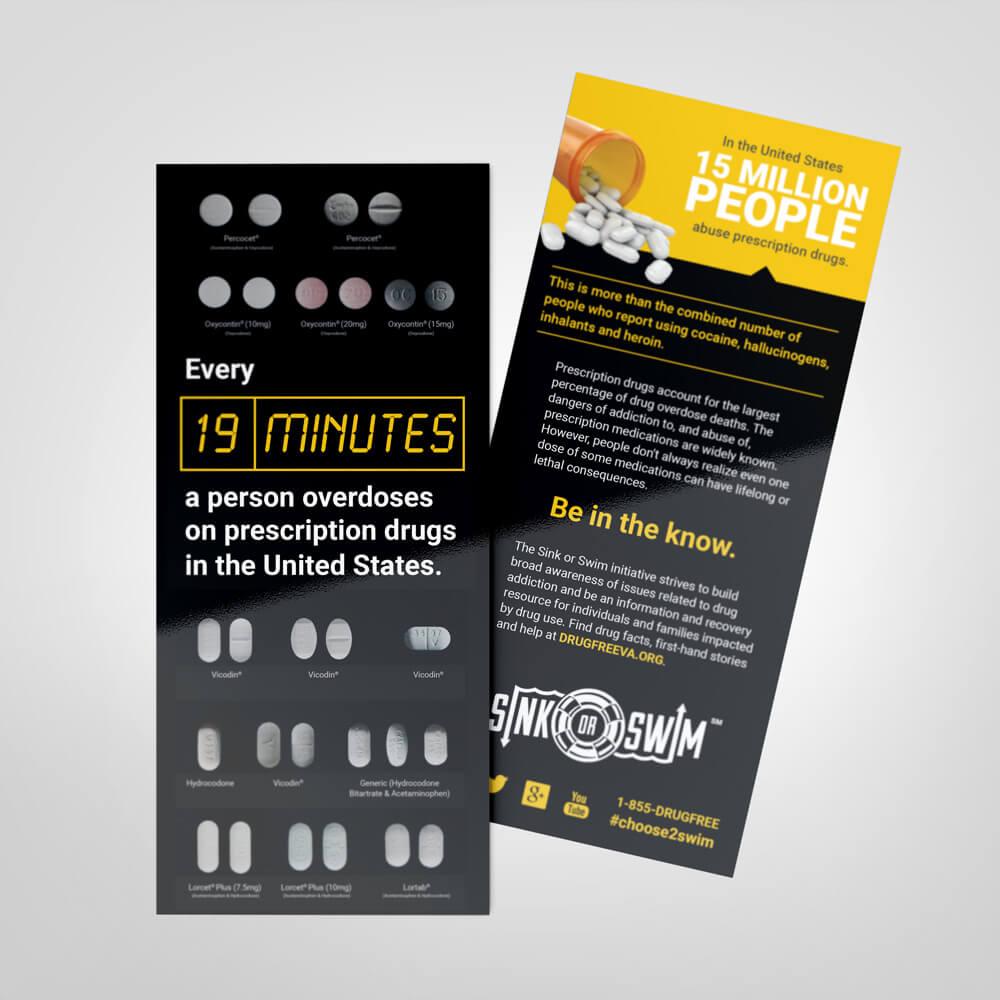 sink or swim overdose rack card drug free va - Rack Cards